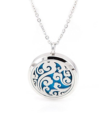 The Soul Vacation Essential Oil Diffuser Necklace Aromatherapy Pendant Jewelry Bag Extra Pad Ocean Breeze Swirl