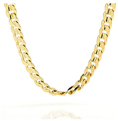 (Gold chain necklace 9MM 18K Diamond cut Smooth Cuban Link with a Warrantied, USA made! (24))