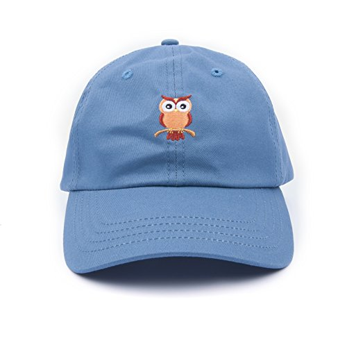 Owl Embroidered Low Profile Dad hat Plain Unstructured Baseball Cap (Navy Blue)