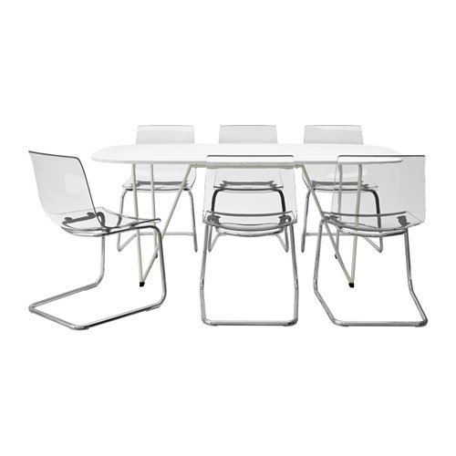 Ikea Table and 6 chairs, white, chrome plated clear 20202.14238.52