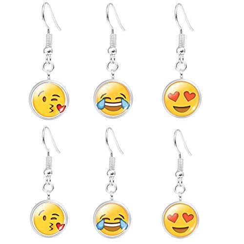 Emoji Face Earrings Set – Assorted Amusing Smiley Emoticon Dangle Earrings, Earrings for Girls, Women, Kids