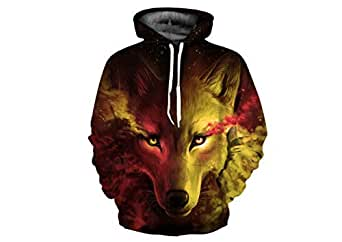 The Wolf head pattern 3d printed pullover and hoodie fashion