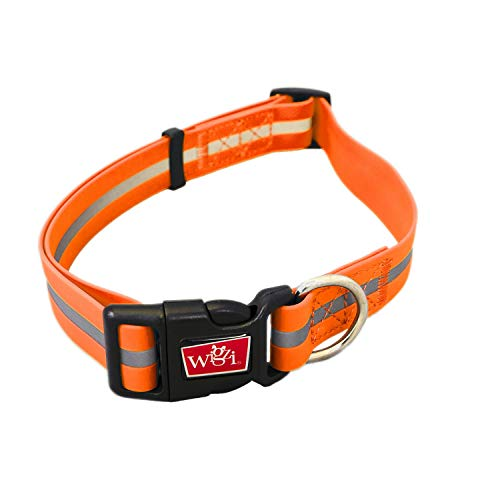 Product image of Reflective, Waterproof, Stink Free, Adjustable and Durable Collar For Dogs - 2 Year Warranty- Neon Orange, Small Size