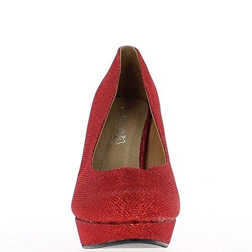 Plataforma y tacón bombas grandes cintura hembra rojo brillante 12 cm