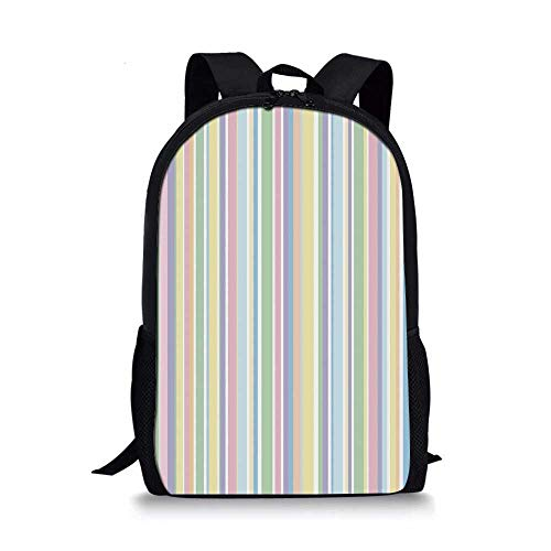 (Pastel Stylish School Bag,Vertically Striped Pattern Different Colored Straight Lines Classical Old Fashioned for Boys,11''L x 5''W x 17''H)