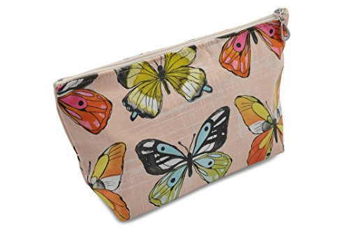 Price comparison product image Dana Herbert Designer Travel Cosmetic Tolietries Bag,  Size Medium 5x9 inch Cotton with Plastic Liner,  Handmade in USA,  Peach Butterfly Pattern