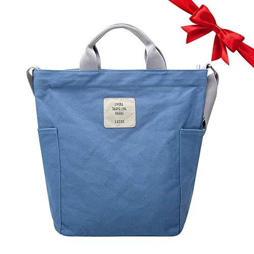 Gindoly Casual Handtasche Damen Canvas Chic Schultertasche Damen Henkeltasche Schulrucksack Große umhängetasche Tasche Blau