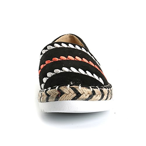 Alexis Leroy Women's Stripe Canvas Espadrilles Shoes Pumps Slip On Flat Sandals Black JocFFm