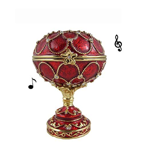 Red Egg Music Box Jewelry Box / Trinket Box Bejeweled Plays