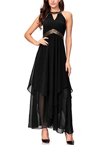 Noctflos Chiffon Elegant Maxi Cocktail Evening Dress for Women Party Wedding (X-Large, Black) - Black Chiffon Cocktail Dress