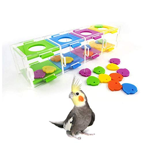 Keersi Bird Intelligence Training Toy with Color Separation Coin Box for Medium Large Parrot Parakeet Cockatiel Conure Macaw African Grey Cockatoo Amazon Lovebird Budgie Finch Canary Cage Part