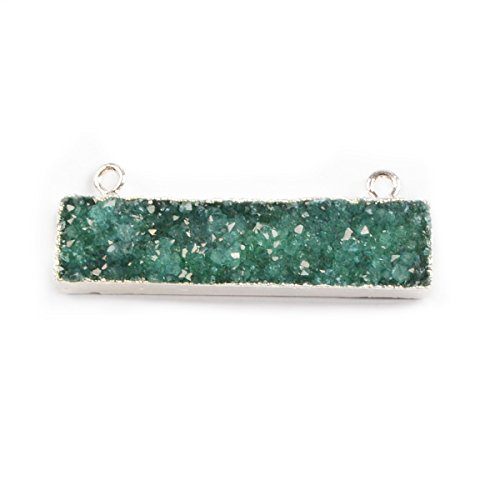 Plated Rectangle Pendant (ZENGORI 1 Pcs Silver Plated Rectangle Green Natural Agate Druzy Geode Connector Double Bail Druzy Pendant Jewelry)