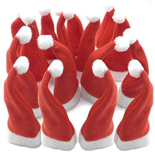 Small Christmas Santa Hat for Crafts Silverware Holder Pockets Unique Red Funny Holiday Party Favors Decorations Topper Hat Red 24Pack ()