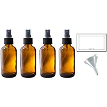 4 oz Amber Glass Boston Round Fine Mist Spray Bottle (4 pack) + Funnel and Labels for essential oils, aromatherapy, food grade, bpa free