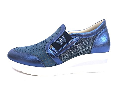 R20109 DENIM Scarpa donna Melluso slip-on zeppa pelle made in Italy jeans