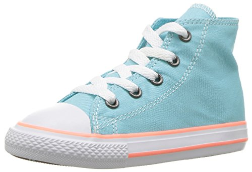 High Top Blue (Converse Kids' Chuck Taylor All Star Seasonal Canvas High Top Sneaker, Bleached Aqua/Crimson Pulse, 2.5 M US Little Kid)