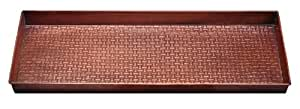 Extra Weave USA Basketweave Pattern Metal Boot Tray, Antique Copper Finish, 34 by 14-Inches