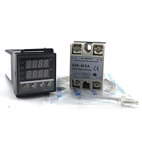 REX-C100 Digital PID Temperature Controller Regulator K Thermocouple 40A US