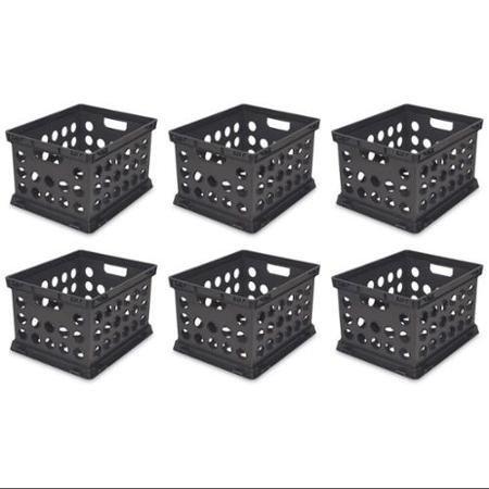6) Sterilite 16939006 Plastic Heavy Duty File Crate Stacking