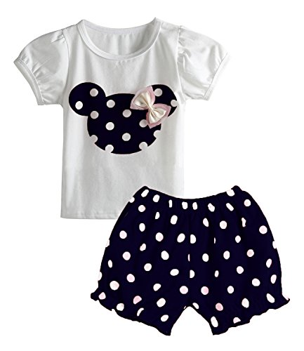 Avidqueen Cute Toddler Baby Girls Clothes Set Long Sleeve T-Shirt and Pants Kids 2pcs Outfits (Z-Navy, 1T)