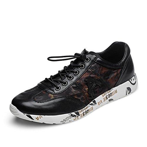 Aide Baou Hommes Bas-top Athleisure Casual Chaussures Bicolore Peau De Mouton Élastique Lacets Et Slip-on Sneaker Noir / Rouge