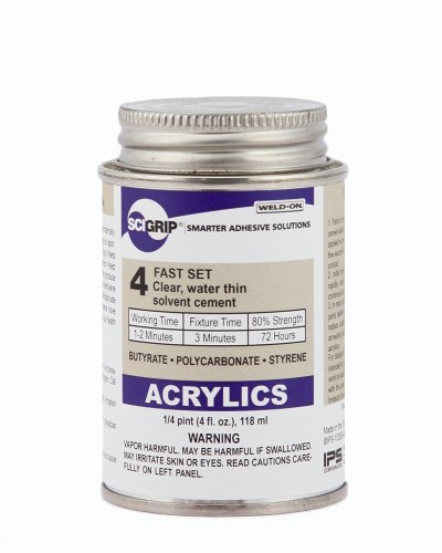 SCIGRIP 4 10308 Acrylic Solvent Cement, Water-thin, 1/4 Pint Can with Screw-on Cap, Clear