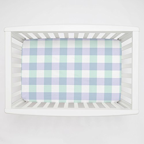 Carousel Designs Lilac and Mint Buffalo Check Mini Crib Sheet 1-Inch-4-Inch Depth - Organic 100% Cotton Fitted Mini Crib Sheet - Made in The USA