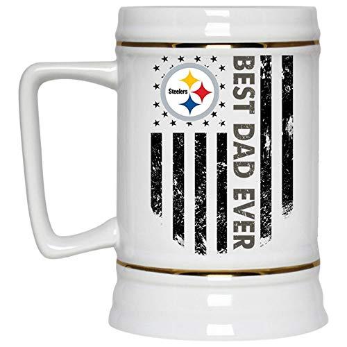 (Best Dad Ever Beer Mug, Pittsburgh Steelers Logo Beer Stein 22oz, Birthday gift for Beer Lovers (Beer Mug-White))