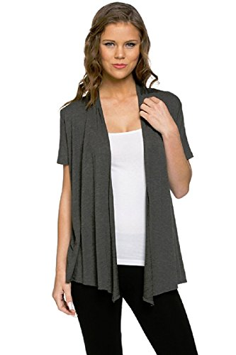 Viosi Women's Short Sleeve Draped Open Front Cardigan, Charcoal, Medium