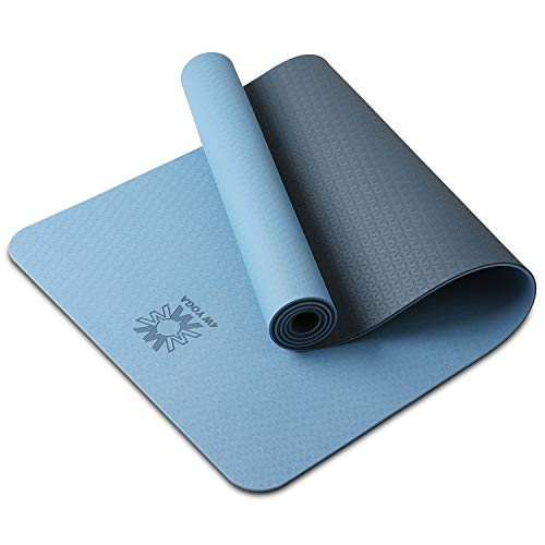 wwww Yoga Mat Eco Friendly TPE Non Slip Yoga Mats By SGS Certified with Carrying Strap,72″x24″ Extra Thick 1/4″ for Yoga Pilates Fitness, Best Gift for Lover