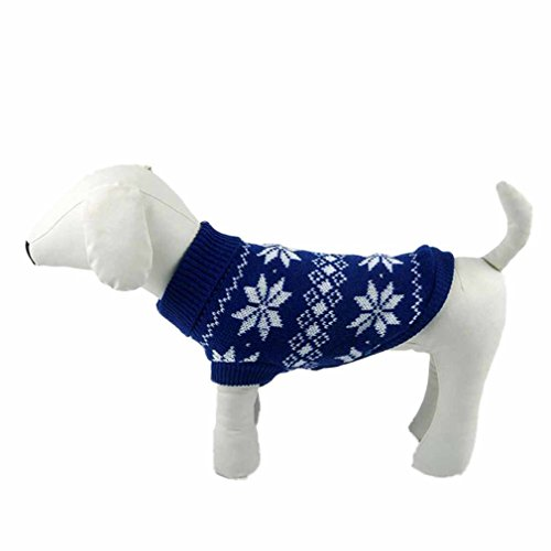 Product image of HP95(TM) Hot!Dog Clothes Pet Winter Snowflake Woolen Sweater Knitwear Puppy Warm High Collar Coat and Jacket (M, Blue)