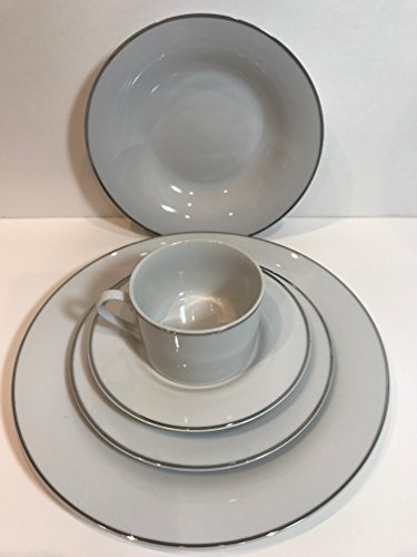 (Gibson Elite Studio Platinum 5 Piece Place Setting All White Platinum Trim Service for 1)