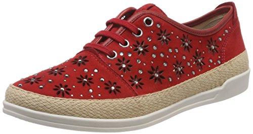 Mujer Suede para Derby Zapatos 23600 Rojo Red 524 de Caprice Cordones qXY7FwxXz