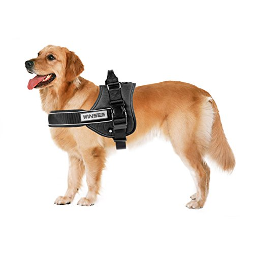 No Pull Dog Vest Harness, WINSEE Soft Reflective Harness with Handle for Extra Big Large Medium Dogs Black (L)