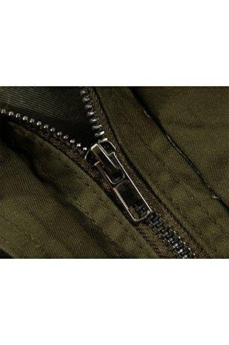 Cappotto Giacca A Manica Verde Cappuccio Lunga Uomo Trench Menschwear Cotone Antivento HBw4qW