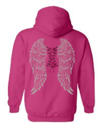 [Women's/Unisex Pullover Hoodie Beautiful Corsette Ribbon Angel Wings HOTPINK (XXL)] (Fairy Wing Tattoos)