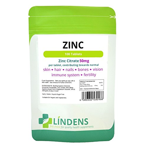 Lindens Zinc Citrate 50mg 2-PACK 200 Tablets Quality Supplement (50 Mg 200 Tabs)