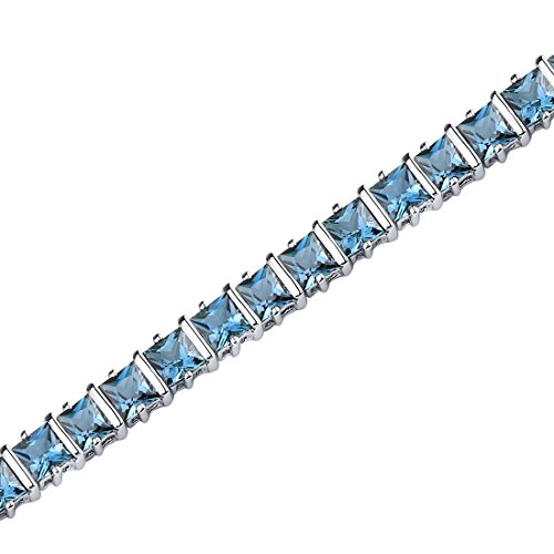 13.25 Carats London Blue Topaz Bracelet Sterling Silver Rhodium Nickel Finish Princess Cut