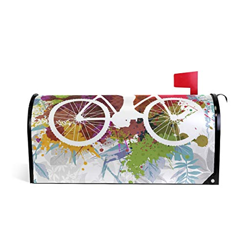 Friendly PVC Magnetic Mailbox Cover,Cyclist Performing Stunt On Grungy Mail Box Makeover Waterproof Anti Sunburn Decor Standard Size
