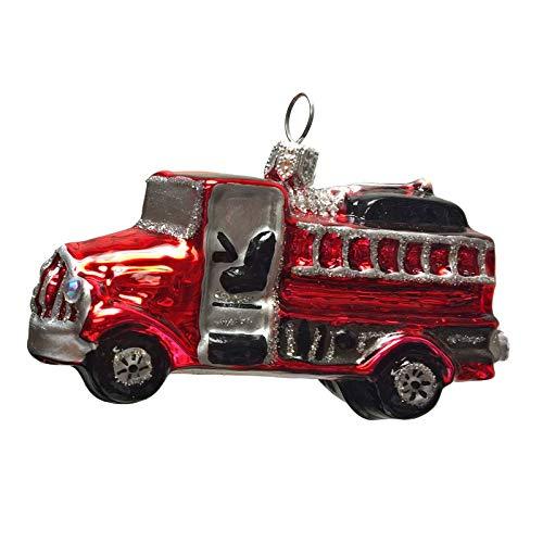 Pinnacle Peak Trading Company Red Miniature Firetruck Polish Glass Christmas Tree Ornament Fireman Decoration