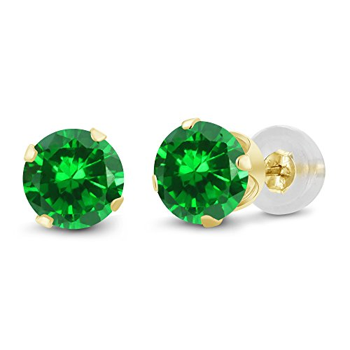 168-Ct-Round-5mm-Green-Simulated-Emerald-14K-Yellow-Gold-Stud-Earrings