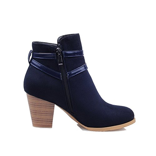 Zipper Solid High Suede Toe Women's AmoonyFashion Imitated Closed Boots Blue Heels Round ApwxHq1
