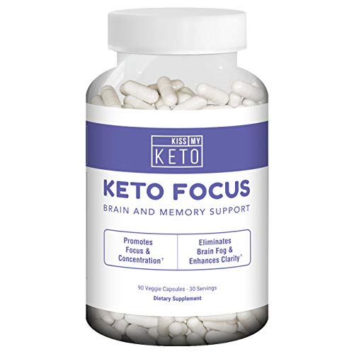 Kiss My Keto Brain Support Supplement – 90 Vegetable Capsules, Nootropic Supplement for Memory, Focus, and Mental Clarity with B12, L-Tyrosine, Ginkgo Biloba, DMAE, Ashwagandha, Lion's Mane, More