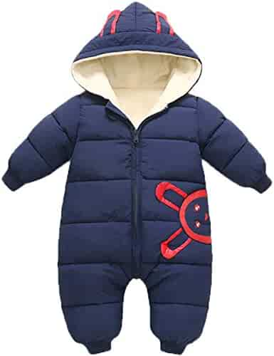 53e1dd7fe JELEUON Baby Girls Boys One Piece Winter Hooded Ladybug Print Warm Puffer  Onesies Jumpsuit Snowsuit Romper