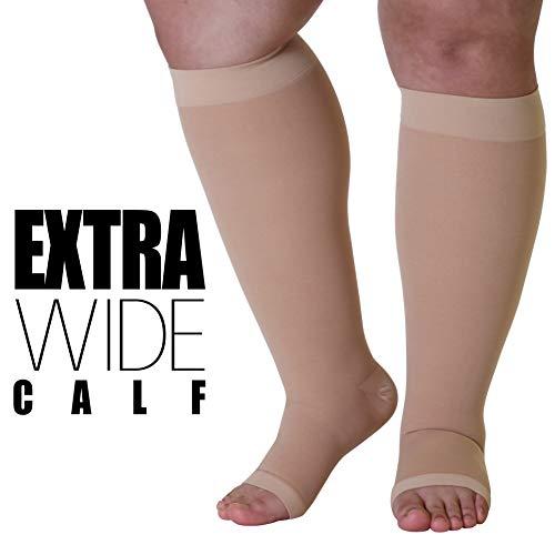 6XL Mojo Opaque Compression Socks Bariatric Support Open Toe 20-30mmHg, Beige