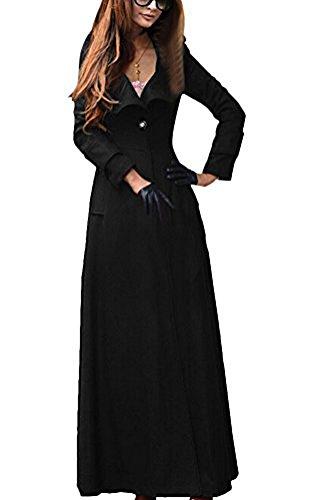 Couleur Brinny Laine En De Bouton 5 Élégante Chaud Mélange Longue Vintage Moulante veste parka Classique trenchcoat Femme Avec Noir Manteau UPwqUr