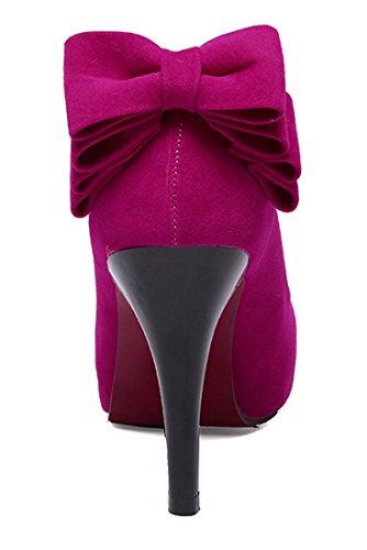 YE Damen 10cm High Heels Stilettos Plateau Runde Geschlossen Pumps mit Schleife Wildleder Party Kleid Schuhe Roserot