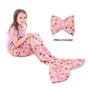 Catalonia Kids Mermaid Tail Blanket Pillow Cushion,Super Soft Coral Plush Fleece Mermaids Gift Snuggle Sleeping Bag for Girls Teens Children 60 x 21 Pink