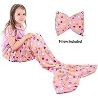 Catalonia Kids Mermaid Tail Blanket Pillow Cushion,Super...