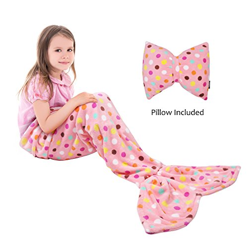 Catalonia Kids Mermaid Tail Blanket Pillow Cushion,Super Soft Coral Plush Fleece Mermaids Gift Snuggle Sleeping Bag for Girls Teens Children 60 x 21 Pink ()
